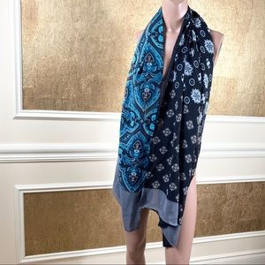Charter Club blue gray print 100% silk scarf